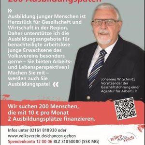 """Hans Schmitz unterstützt die Kampagne """"Teilen und Chancen geben""""."""