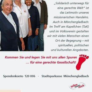 """Die Steyler Schwestern unterstützten die Kampagne """" Spuren legen für eine gerechte Gesellschaft""""."""