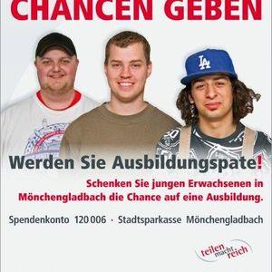 """Christopher Lorencic, Christoph Näther und Chrissanthos Mavropoulos unterstützen die Kampagne """"Teilen und Chancen geben""""."""