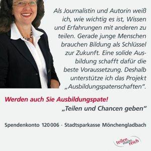"""Dr. Rita Mielke unterstützt die Kampagne """"Teilen und Chancen geben""""."""