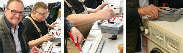 Mitarbeiter bei der Überprüfung von Elektrogeräten